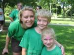 Michelle Daniels-Cearlock (left) of Wells-Fargo Advisors and her children, Luke and Annie