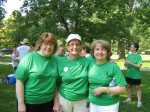 Co-workers and friends Sally Davis (left), Doris Firnkes (center) and Pat Jenks (right). When Doris received a liver transplant, her boss and co-workers from Wells-Fargo Advisors rally around her.